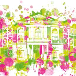 Hommage an Bayreuth das Festspielhaus Digital Art auf Leinwand gedruckt in Aquarell Optik und limitierter Auflage