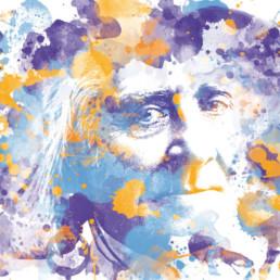 Hommage an Bayreuth Franz Liszt Digital Art auf Leinwand gedruckt in Aquarell Optik und limitierter Auflage