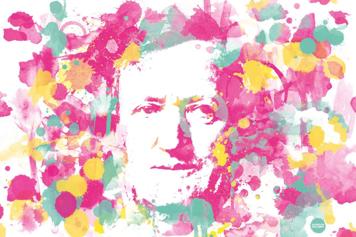 Hommage an Bayreuth Richard Wagner Digital Art auf Leinwand gedruckt in Aquarell Optik und limitierter Auflage
