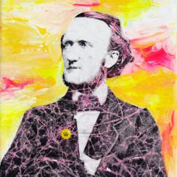Die Krone der Schöpfung zeigt Richard Wagner als Mixed Media auf Leinwand