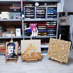 mein atelier mit blick auf holzwerke und wagner im hinteren raum