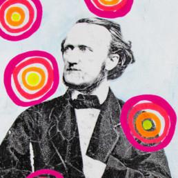 Unerschöpfliche Inspiration zeigt Richard Wagner als Mixed Media auf Leinwand